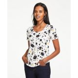 Anntaylor Floral Pima Cotton Scoop Neck Tee