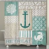 Laural Home Coastal Retreat Shower Curtain in Blue/Beige