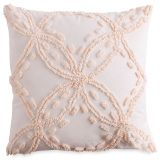 Chenille Lattice Square Throw Pillow in Blush