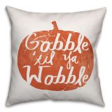 Designs Direct Gobble Til You Wobble Square Throw Pillow in Orange