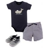 Hudson Baby 4-Piece Whale Bodysuit, Short, and Shoe Set in Blue