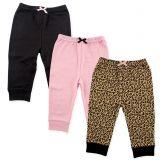 Luvable Friends 3-Pack Leopard Pants in Black/Pink
