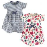 Touched by Nature Floral Stripe 2-Pack Organic Cotton Dresses in Blue
