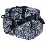 Trend Lab Deluxe Midnight Fleur Demask Duffle Diaper Bag in Black/White
