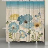 Laural Home Poppies Shower Curtain in Teal