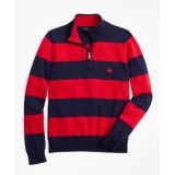 Brooksbrothers Boys Cotton Rugby Stripe Half-Zip Sweater