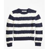 bc3afb648f4 Brooksbrothers Girls Cotton Aran Stripe Sweater