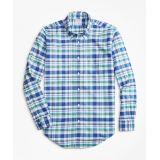 Brooksbrothers Regent Fit Oxford Blue and Green Plaid Sport Shirt cd7e9e477