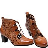 Vicenzo Leather Shae Perforated Flat Heel Ankle Womens Leather Boots