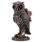 Wu wu Steampunk Owl with Jetpack Statue Sculpture on Gears
