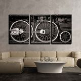 Wall26 wall26 - 3 Piece Canvas Wall Art - Old Locomotive Wheel Detail in Warm Black and White - Modern Home Decor Stretched and Framed Ready to Hang - 24x36x3 Panels