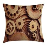 Ambesonne Industrial Throw Pillow Cushion Cover, Inside The Clocks Theme Gears Mechanical Device Image in Steampunk Style Print, Decorative Square Accent Pillow Case, 20 X 20 Inche