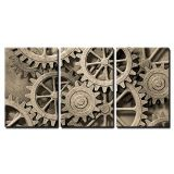 Wall26 wall26 - 3 Piece Canvas Wall Art - a Mechanical Background with Gears and Cogs - Modern Home Decor Stretched and Framed Ready to Hang - 16x24x3 Panels