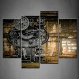 BABE MAPS 12x24x2Panel,12x36x2Panel Wall Art Metallurgical Firm Waiting for A Demolition Machine Old Factory Painting Piece Canvas Stretched and Framed for Living Room Decor and Mo