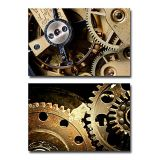 Wall26 Canvas Prints Wall Art -Mechanical Gears Close Up, Industrial Grunge Background| Modern Home Deoration/Wall Decor Giclee Printing Wrapped Canvas Art Ready to Hang - 24x36 x 2 Panel