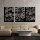 Wall26 wall26 Grayscale Mechanical Gear - Canvas Art Wall Decor - 16 x 24 x 3 Panels