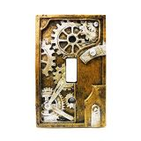PTC 4.25 Inch Resin Steampunk Light Switch Plate Cover, Gray/Gold