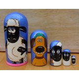 Russian Arts Shaun the Sheep Russian nesting Doll Set of 5 piece. Hand-painted in Russia.
