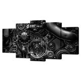 VVOVV Wall Decor - 5 Piece Canvas Prints Engine Engineering Closeup Gear And Chain Black And White Photos Wall Art Modern Home Decor Stretched and Framed Ready to Hang(60inchx32inc