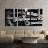 Wall26 wall26 - 3 Piece Canvas Wall Art - Steam Train Wheel Drive - Modern Home Decor Stretched and Framed Ready to Hang - 16x24x3 Panels