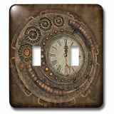 3dRose LSP_254568_2 Steampunk, Awesome Clock with Cute Giraffe-Double Toggle Switch
