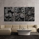 KAROLA 16x24x3 Panels Wall Print Art Grayscale Mechanical Gear Canvas Art Decor Art Paintings for Kitchen/Living Room Office Decor Stretched and Framed