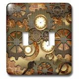 3dRose LSP_239732_2 Steampunk Clocks Gears in Golden Design-Double Toggle Switch