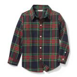 Janie and Jack Plaid Twill Shirt