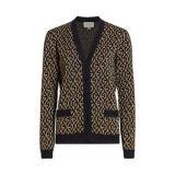 Gucci G-Rhombus Metallic Logo Wool Jacquard Cardigan