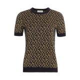 Gucci G-Rhombus Logo Metallic Wool Jacquard Knit Tee