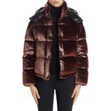 MONCLER Caille Glitter Velvet Quilted Down Puffer Coat