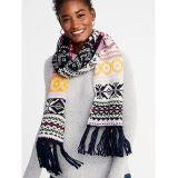 Oldnavy Jacquard Sweater-Knit Fringe Scarf for Women 30% Off Taken at Checkout