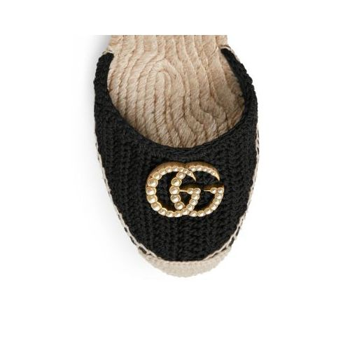 구찌 Gucci GG Crochet Espadrille Wedge Sandals