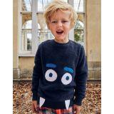 Boden Snuggly Monster Sweatshirt - Navy Blue Monster
