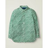 Boden Laundered Printed Shirt - Linden Green Car Chase