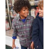 Boden Brushed Check Shirt - Grey Marl/Blackcurrant Purple