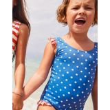 Boden Frilly Printed Swimsuit - Oasis Blue/Ivory Spots
