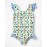 Boden Frilly Printed Swimsuit - Ivory Flower Patch