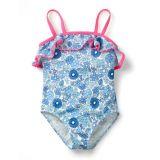 Boden Frill Detail Swimsuit - Blue Wallpaper Floral