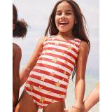 Boden Racer-Back Swimsuit - Sunset Red/Gold Star
