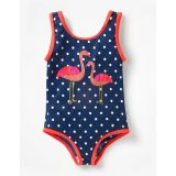 Boden Applique Swimsuit - Deep Sea Blue Flamingos