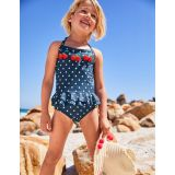 Boden Halterneck Applique Swimsuit - Deep Sea Blue Cherries
