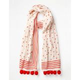 Boden Pompom Scarf - Ivory and Red Pop
