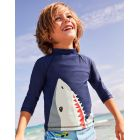 Boden Logo Rash Guard - Deep Sea Blue Shark