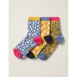 Boden Three Pack Ankle Socks - Saffron Multi