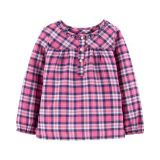 Carters Shimmer Plaid Top