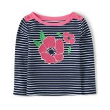 Girls Striped Top - Playful Poppies
