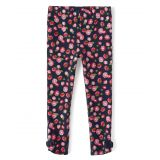 Girls Floral Bow Leggings - Playful Poppies