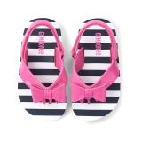 Girls Striped Flip Flops - Playful Poppies
