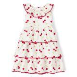 Girls Cherry Tiered Dress - Very Cherry